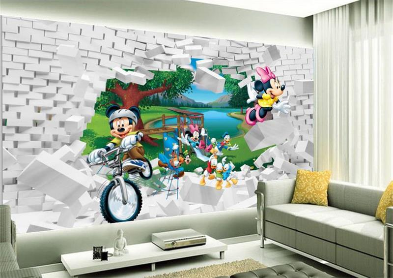 3d room wallpaper custom mural non woven wall sticker Mickey Mouse cartoon painting photo 3d wall 1